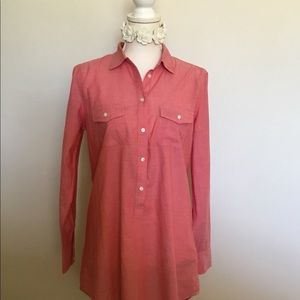 J Crew Pink Cotton Pull Tab Blouse Pockets